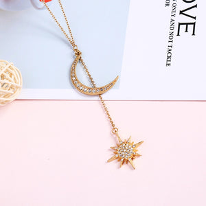 Star Moon Crystal Matt Gold Pendant Necklace