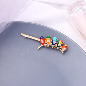 """Emilia"" Enamel Bird On A Tree Branch Hair Pin"