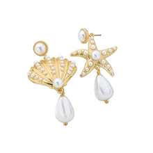 Load image into Gallery viewer, Starfish Seashell Asymmetric Pearl Gold Drop Dangle Earrings