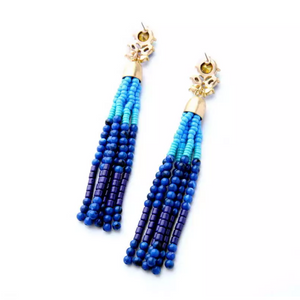 """Cecelia"" Sea Blue Beaded Tassel Dangle Earrings"