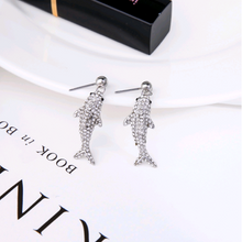 "Load image into Gallery viewer, ""Margot"" Crystal Shark Vintage Dangle Earrings"