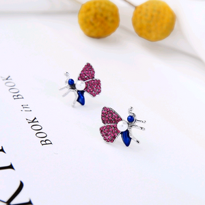 Moth Enamel Glaze Crystal Silver Stud Earrings