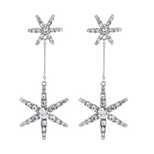 Load image into Gallery viewer, Starburst Crystal Delicate Vintage Silver Drop Dangle Earrings