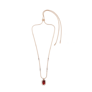 """Alice"" Ruby Red Faceted Crystal Pendant Necklace"