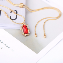 "Load image into Gallery viewer, ""Alice"" Ruby Red Faceted Crystal Pendant Necklace"
