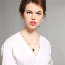 "Load image into Gallery viewer, ""Alice"" Blue Faceted Crystal Gold Pendant Necklace"