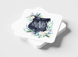 Custom Floral Crest Coasters with Your Initials!
