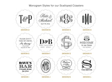 Load image into Gallery viewer, Monogrammed Drink Coasters - Scallop Shape!
