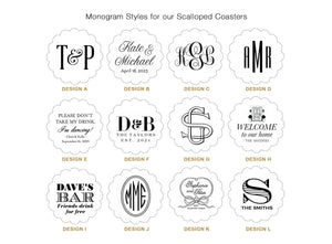 Monogrammed Drink Coasters - Scallop Shape!