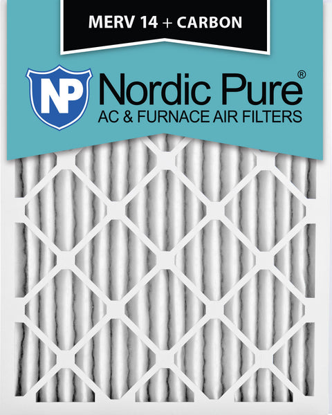 10x20x2 MERV 14 Plus Carbon AC Furnace Filters Qty 12 - Nordic Pure