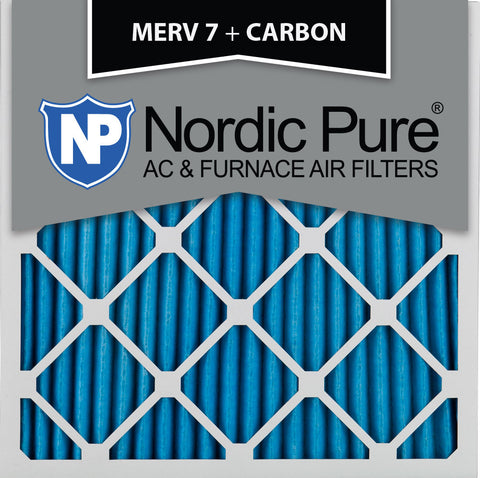 12x12x1 MERV 7 Plus Carbon AC Furnace Filters Qty 12 - Nordic Pure