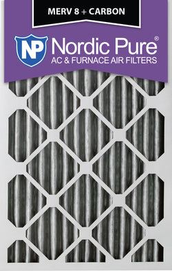 12x25x2 Pleated MERV 8 Plus Carbon AC Furnace Filters Qty 12 - Nordic Pure