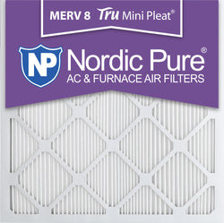 25x25x1 Tru Mini Pleat Merv 8 AC Furnace Air Filters Qty 3 - Nordic Pure