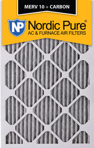 12x18x1 Pleated MERV 10 Plus Carbon AC Furnace Filters Qty 12 - Nordic Pure