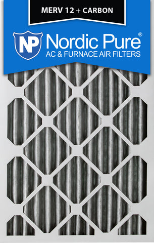 10x20x2 Pleated MERV 12 Plus Carbon AC Furnace Filters Qty 12 - Nordic Pure