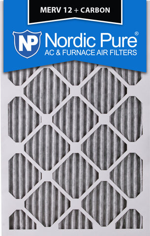 8x20x1 Pleated MERV 12 Plus Carbon AC Furnace Filters Qty 12 - Nordic Pure