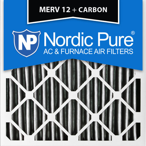 12x12x1 Pleated MERV 12 Plus Carbon AC Furnace Filters Qty 24 - Nordic Pure