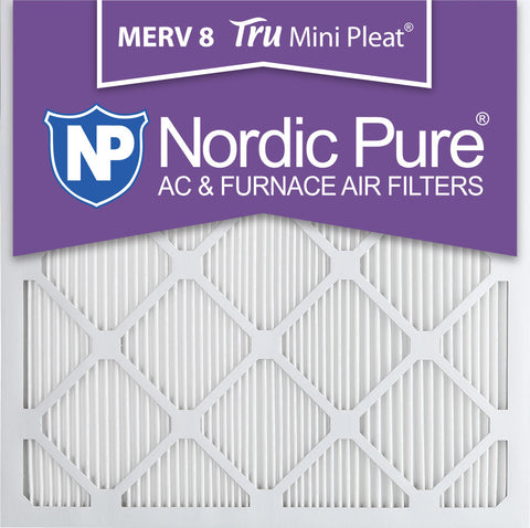 25x25x1 Tru Mini Pleat Merv 8 AC Furnace Air Filters Qty 6 - Nordic Pure