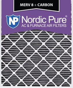 30x36x2 Geothermal MERV 8 Pleated Plus Carbon AC Furnace Filters Qty 3 - Nordic Pure