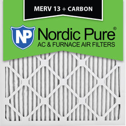 14x14x1 MERV 13 Plus Carbon AC Furnace Filters Qty 12 - Nordic Pure