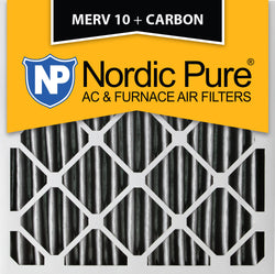 16x16x2 Pleated MERV 10 Plus Carbon AC Furnace Filters Qty 12 - Nordic Pure