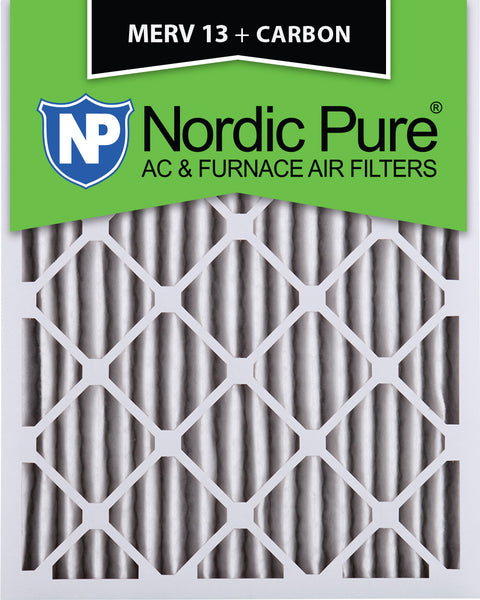 10x20x2 MERV 13 Plus Carbon AC Furnace Filters Qty 12 - Nordic Pure