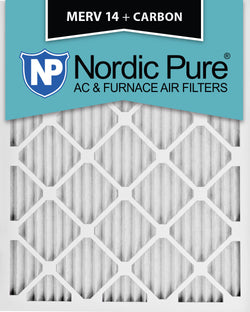 12x18x1 MERV 14 Plus Carbon AC Furnace Filters Qty 12 - Nordic Pure