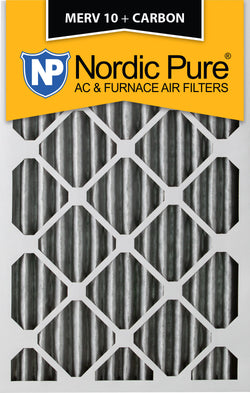 12x25x2 Pleated MERV 10 Plus Carbon AC Furnace Filters Qty 12 - Nordic Pure