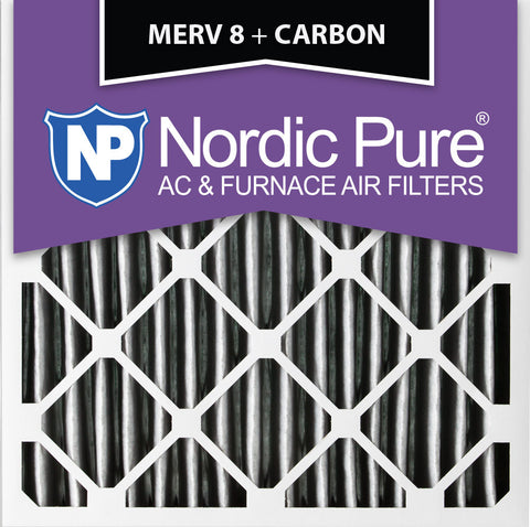 12x12x1 Pleated MERV 8 Plus Carbon AC Furnace Filters Qty 3 - Nordic Pure