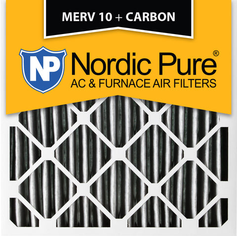 12x12x1 Pleated MERV 10 Plus Carbon AC Furnace Filters Qty 6 - Nordic Pure