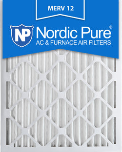 16x25x2 Pleated MERV 12 AC Furnace Filters Qty 12 - Nordic Pure