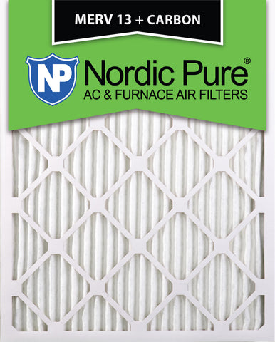 10x20x1 Pleated Air Filters MERV 13 Plus Carbon Qty 24 - Nordic Pure