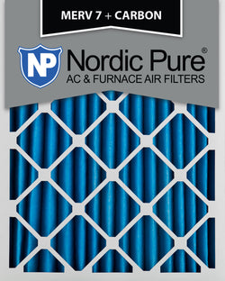 12x20x2 MERV 7 Plus Carbon AC Furnace Filters Qty 3 - Nordic Pure
