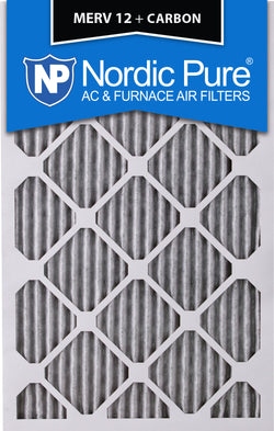 12x20x1 Pleated MERV 12 Plus Carbon AC Furnace Filters Qty 12 - Nordic Pure