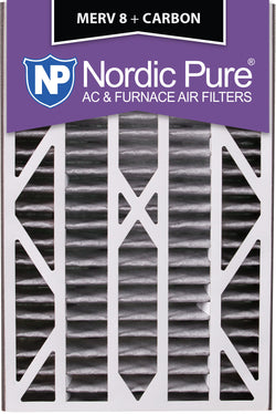 16x25x3 Air Bear Cub Replacement MERV 8 Pleated Plus Carbon Qty 3 - Nordic Pure