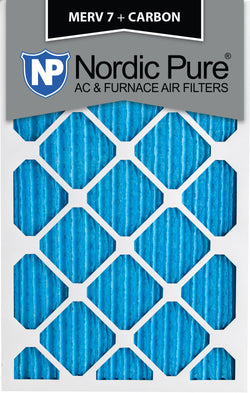 10x20x1 MERV 7 Plus Carbon AC Furnace Filters Qty 12 - Nordic Pure