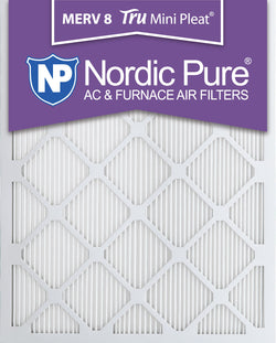 16x25x1 Tru Mini Pleat Merv 8 AC Furnace Air Filters Qty 12 - Nordic Pure