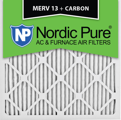 10x10x1 MERV 13 Plus Carbon AC Furnace Filters Qty 12 - Nordic Pure