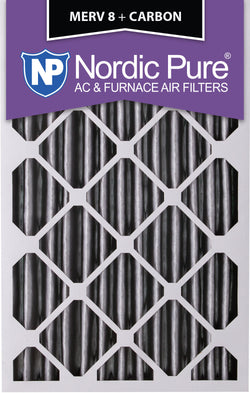 16x25x4 Pleated MERV 8 Plus Carbon AC Furnace Filters Qty 2 - Nordic Pure