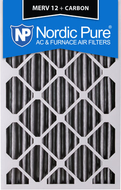 16x20x4 Pleated MERV 12 Plus Carbon AC Furnace Filters Qty 2 - Nordic Pure