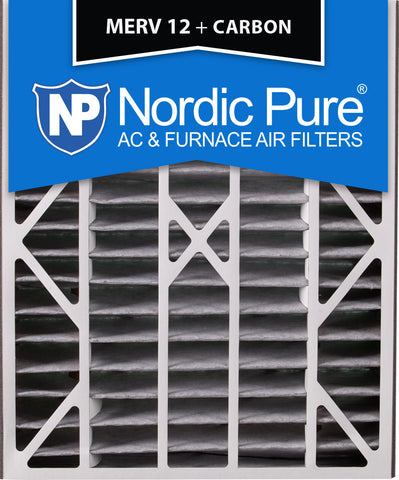20x25x5 Air Bear Replacement MERV 12 Pleated Plus Carbon Qty 2 - Nordic Pure