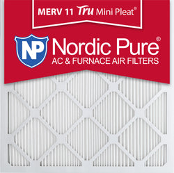 14x14x1 Tru Mini Pleat Merv 11 AC Furnace Air Filters Qty 12 - Nordic Pure