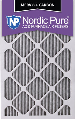 10x20x1 Pleated MERV 8 Plus Carbon AC Furnace Filters Qty 12 - Nordic Pure