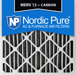 20x20x4 Pleated MERV 12 Plus Carbon AC Furnace Filters Qty 2 - Nordic Pure