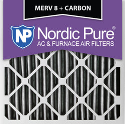20x20x4 Pleated MERV 8 Plus Carbon AC Furnace Filters Qty 2 - Nordic Pure