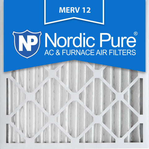 16x16x2 Pleated MERV 12 AC Furnace Filters Qty 12 - Nordic Pure