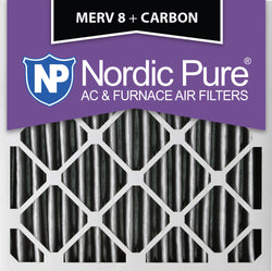 16x16x2 Pleated MERV 8 Plus Carbon AC Furnace Filters Qty 3 - Nordic Pure