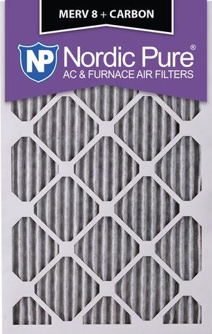 8x20x1 Pleated MERV 8 Plus Carbon AC Furnace Filters Qty 3 - Nordic Pure