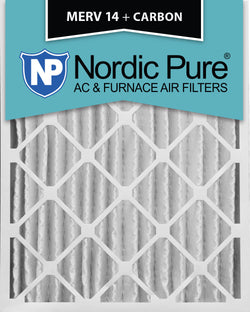 16x25x4 MERV 14 Plus Carbon AC Furnace Filters Qty 2 - Nordic Pure