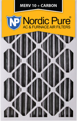 20x25x4 Pleated MERV 10 Plus Carbon AC Furnace Filters Qty 2 - Nordic Pure